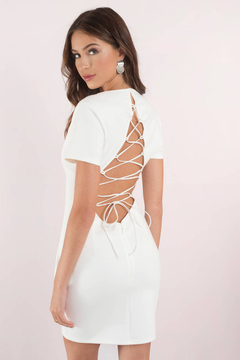 beb0c51935a Cute Dress - Strappy Back - Deep V - White Dress -  23