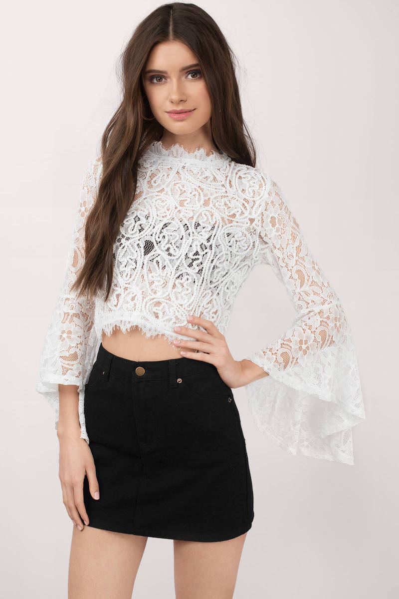52daf19648049 Cute White Blouses Top - Bell Sleeve Top - Festival Top - White ...