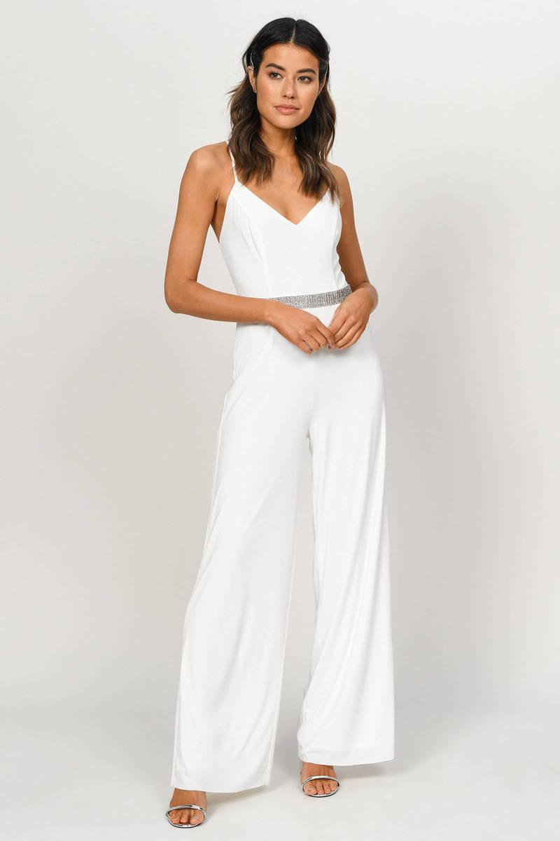 4c517189df56d Late Night White Wide Leg Jumpsuit - $26   Tobi US