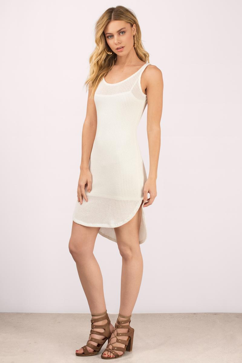 Lazy Sunday White Ribbed Bodycon Dress