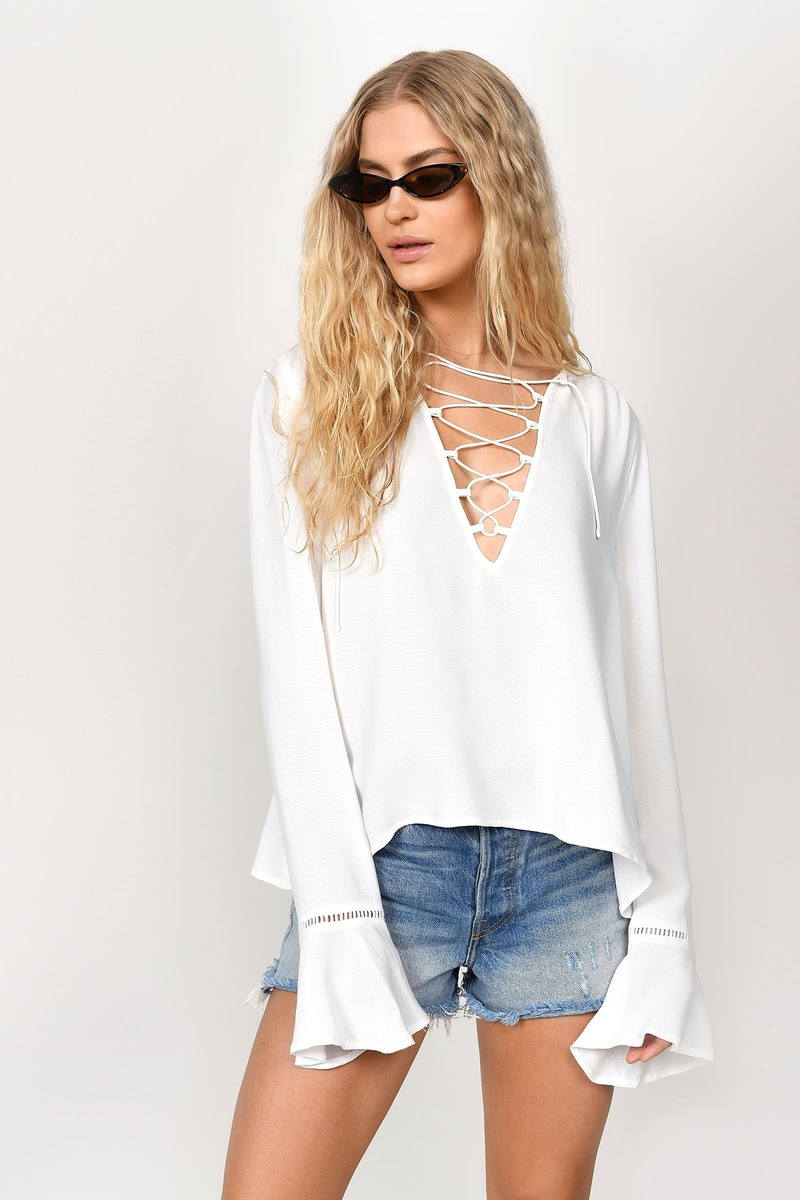 173d4df44f388 White Blouse - Lace Up Blouse - White Long Sleeve Top -  23