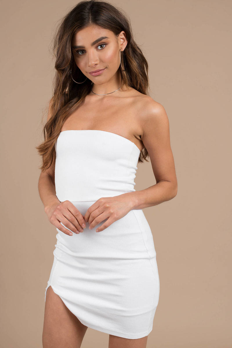 b852bb0596a White Bodycon Dress - Tube Top Dress - White Fitted Dress - Party ...