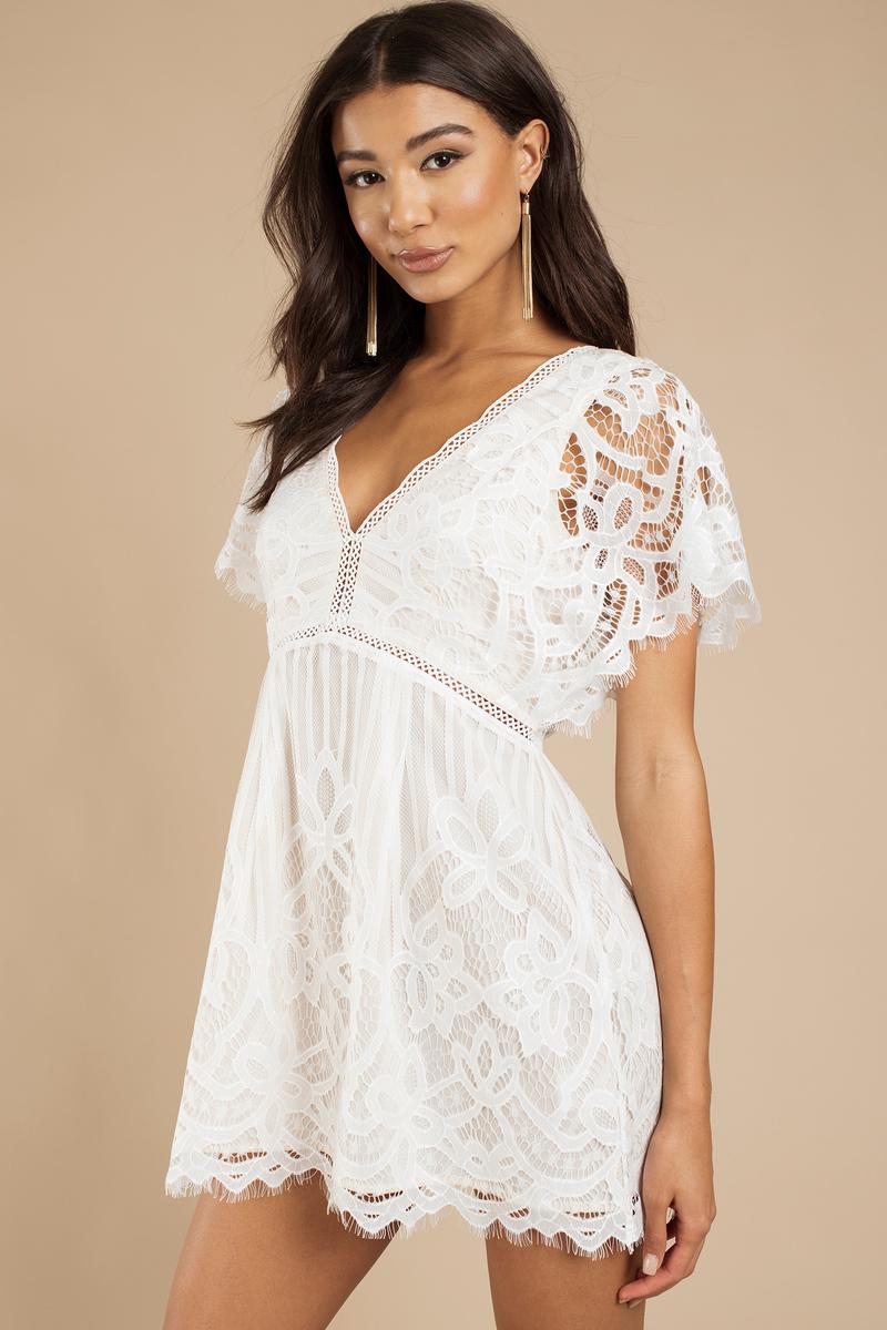 white skater dress lace dress white dress 62 tobi us