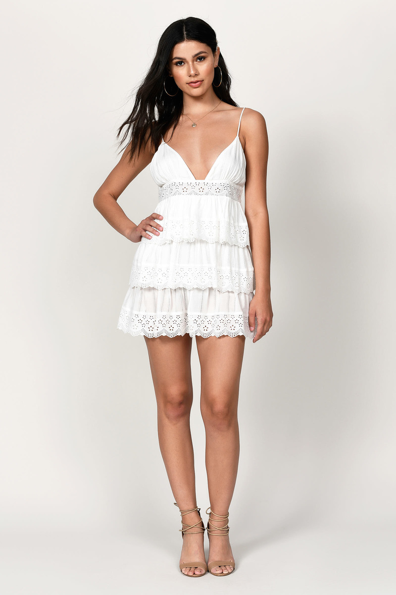 Tiered White Dresses