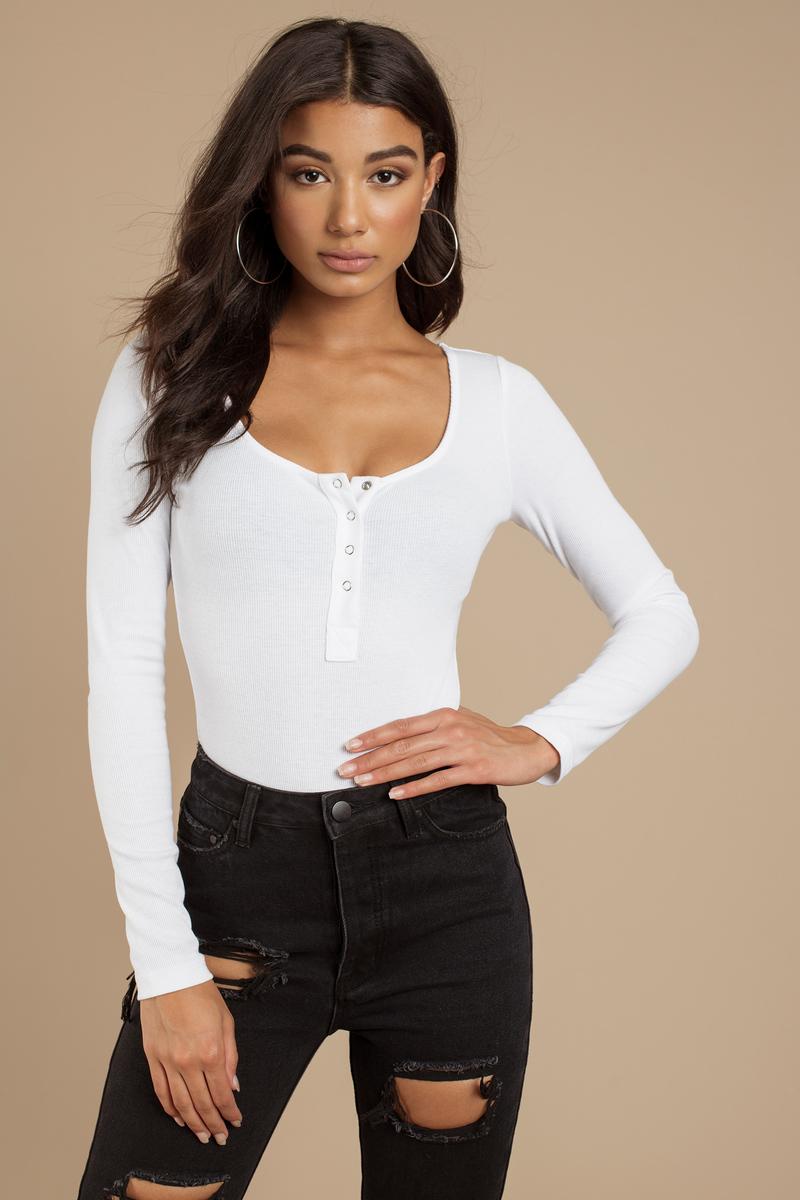 f95dff4b2d White Bodysuit - Long Sleeve Bodysuit - Ribbed Bodysuit - Button Up ...