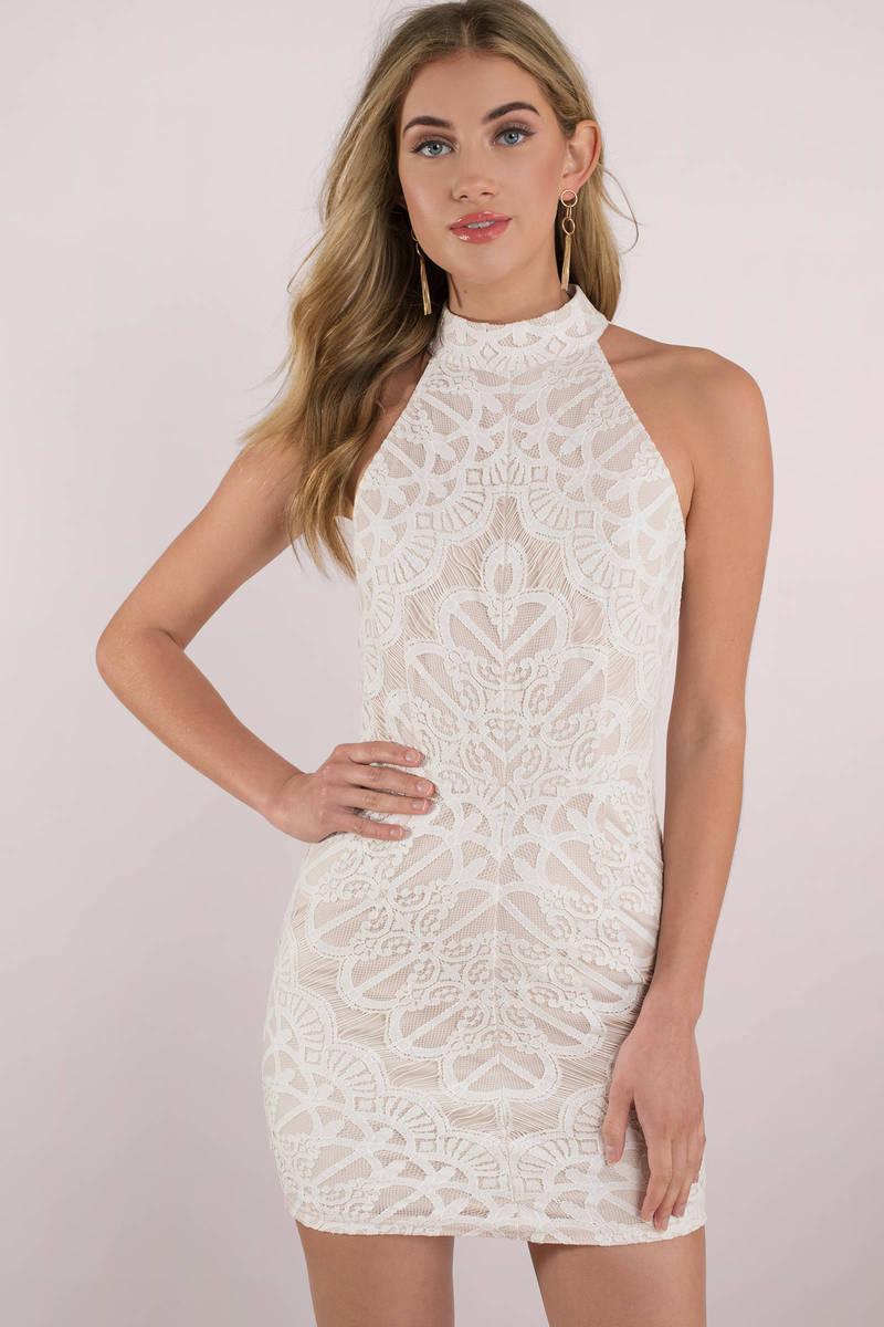 High Neck White Dresses
