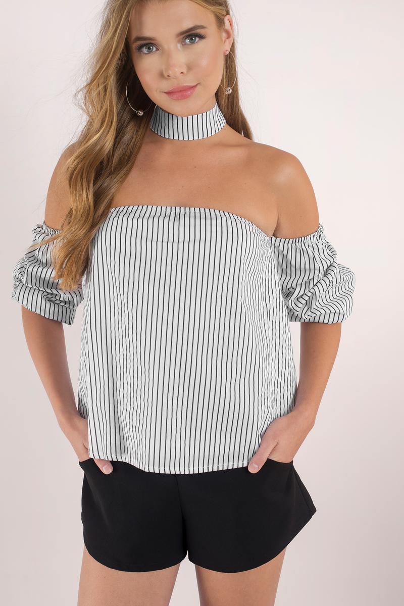 Lucky Stripe White Choker Top