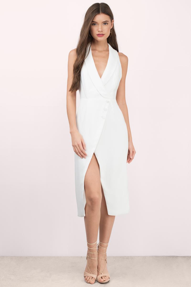 4e1ef02fd2b8 Trendy White Wrap Dress - White Dress - Slit Dress - Wrap Dress - C ...