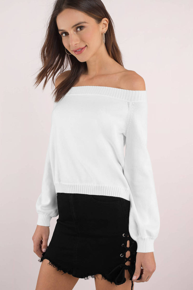 Madeline White Off Shoulder Sweater - $72 | Tobi US