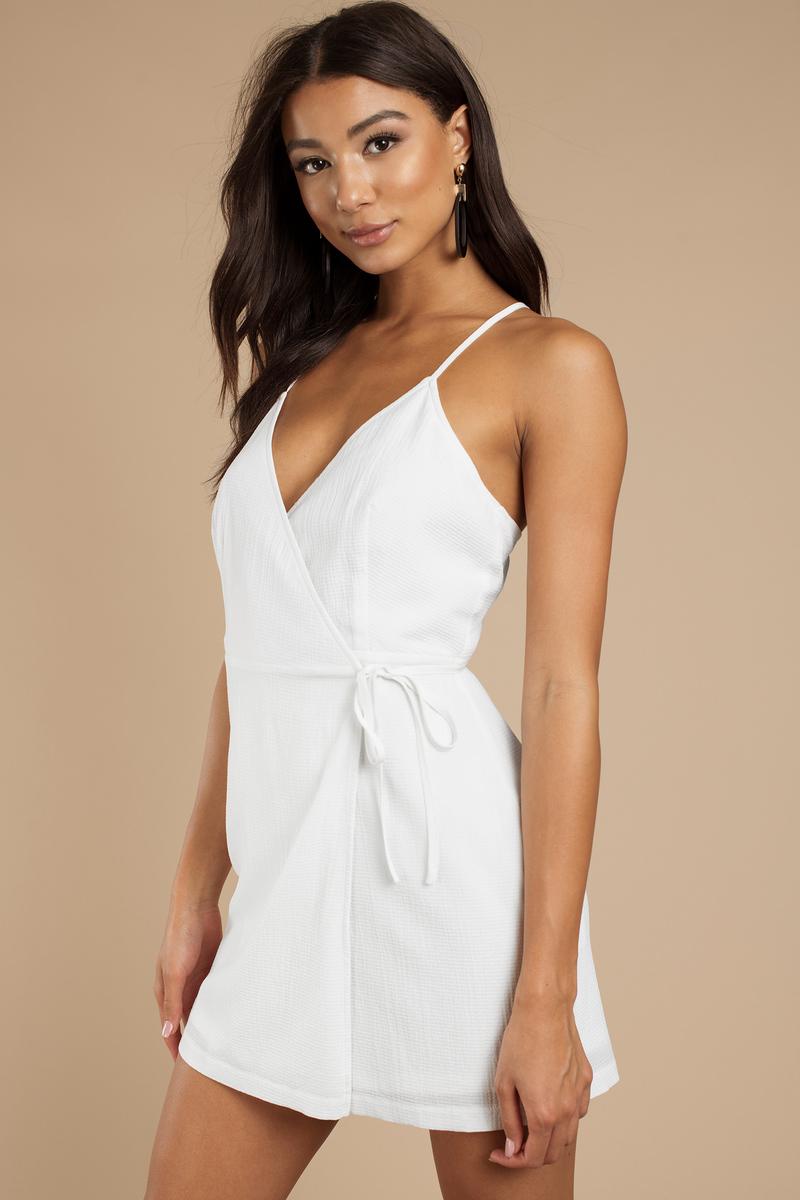 e586c81cc86c White Wrap Dress - Front Tie Dress - White Criss Cross Back Dress ...