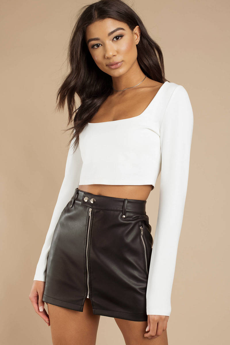 3071de8a8ee0b Brown Crop Top - Square Neck Top - Brown Long Sleeve Going Out Top ...