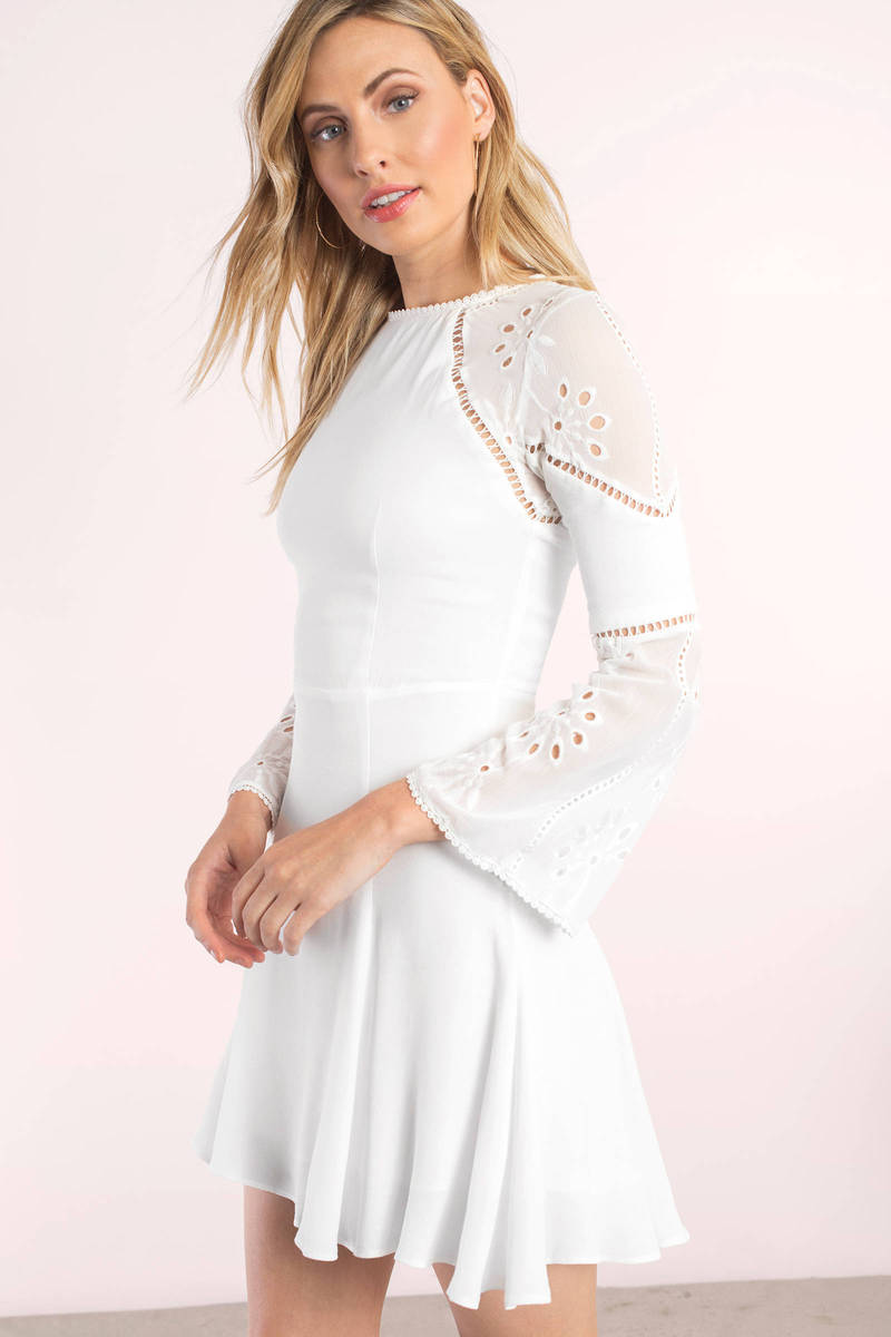 Winona Marine White Lace Bell Sleeve Skater Dress
