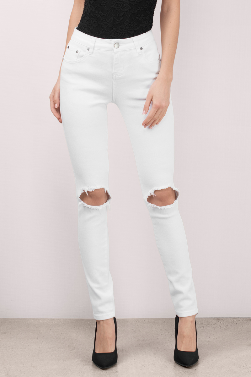 Mateo White Distressed Skinny Jeans - $66.00 | Tobi