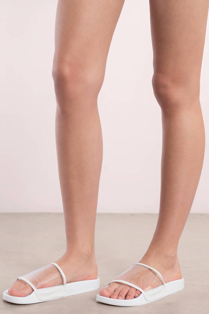 Matty White Lucite Slide On Sandals
