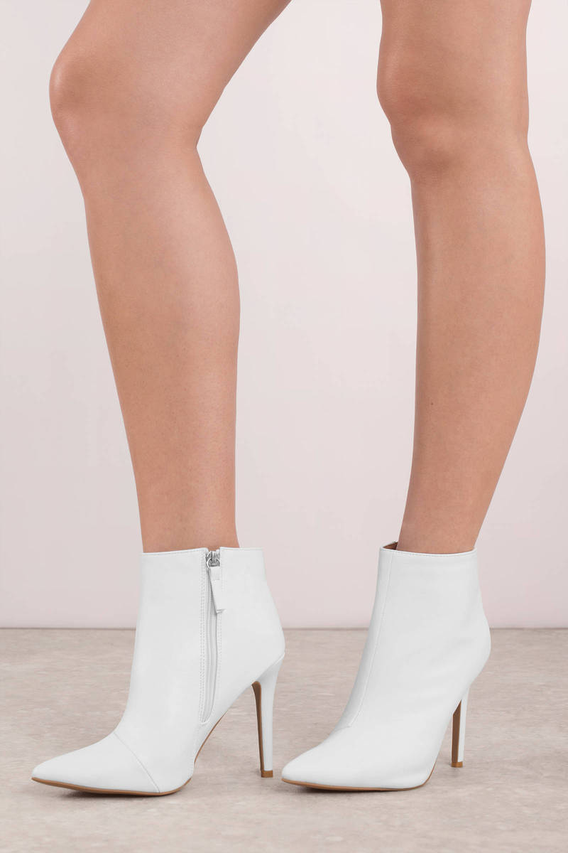 Milia White Pointed Toe Heeled Booties | Tobi