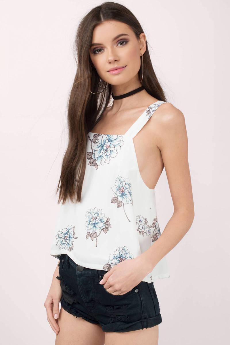 Joa Adrianna White Multi Floral Print Tank