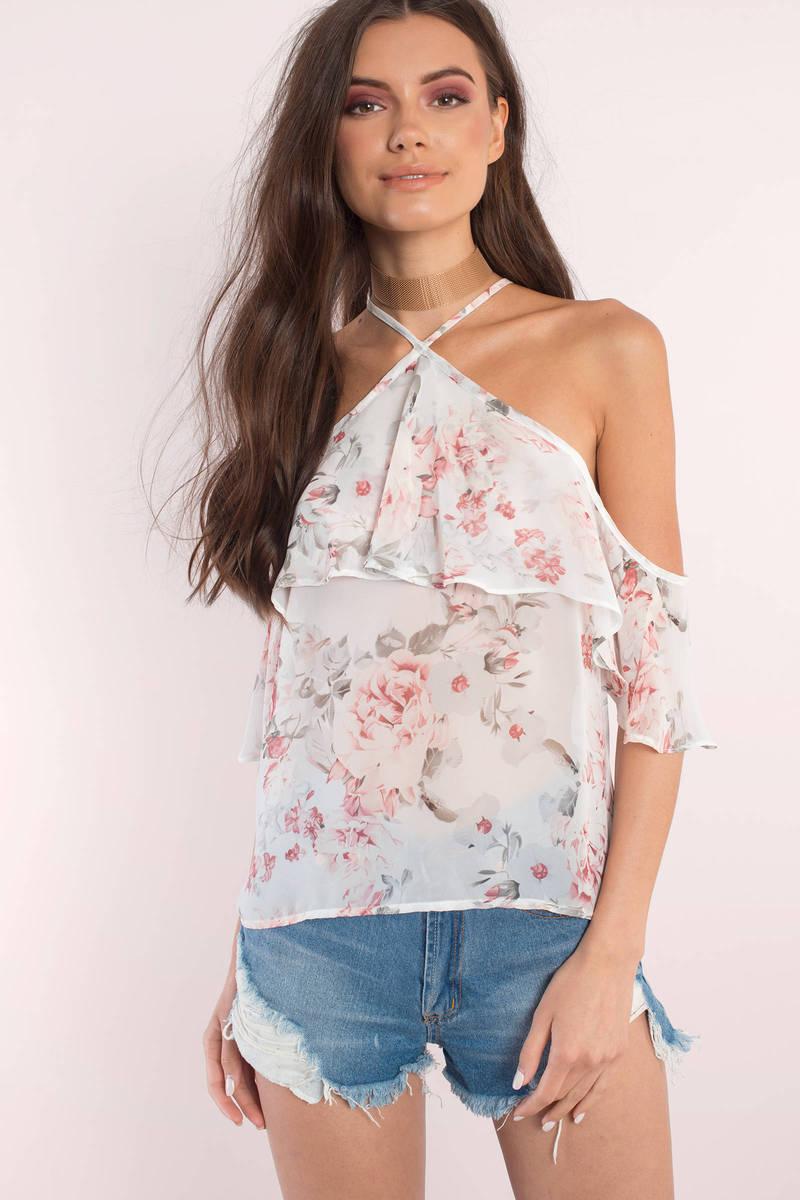 Alyssa White Multi Floral Print Top