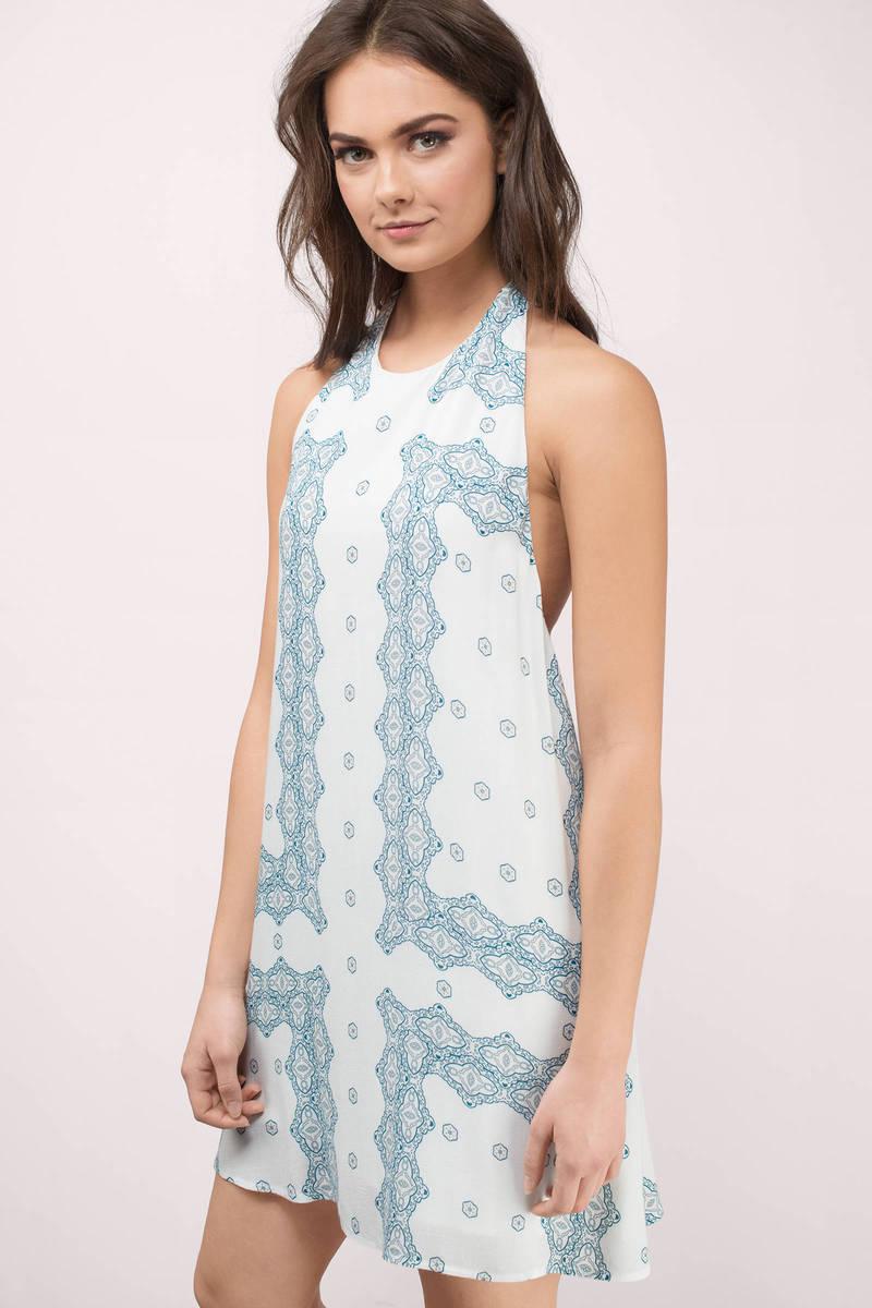 Astra White Multi Printed Shift Dress