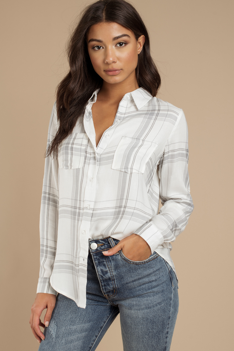 Button Up To Mischief White Multi Top