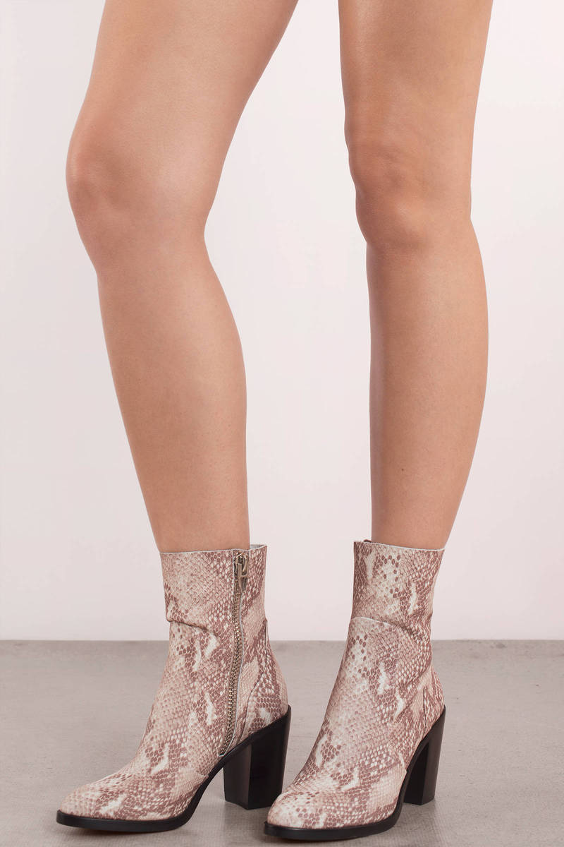 1baa90a735ba White Dolce Vita Boots - Snakeskin Booties - White Zipper Ankle ...
