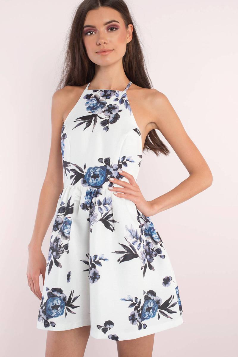15169fab141 Cute White Multi Skater Dress - Cross Back Dress - Skater Dress ...