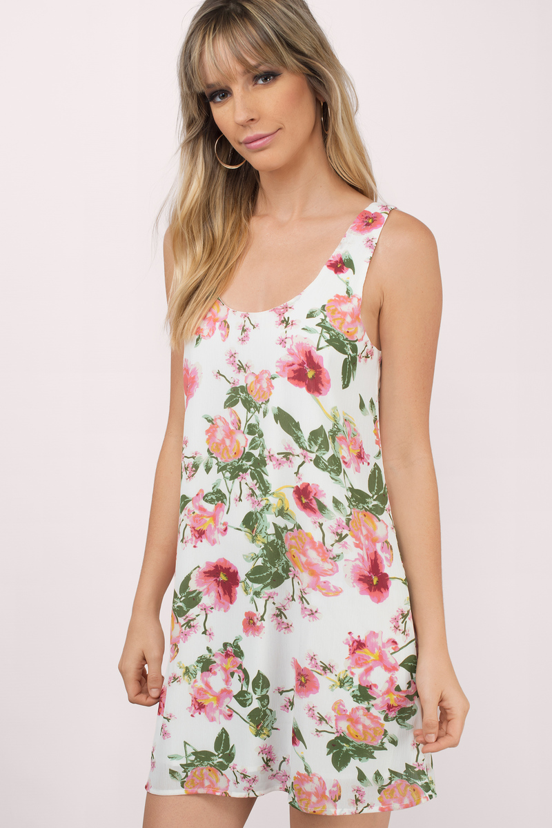 Full Bloom White Multi Floral Print Shift Dress