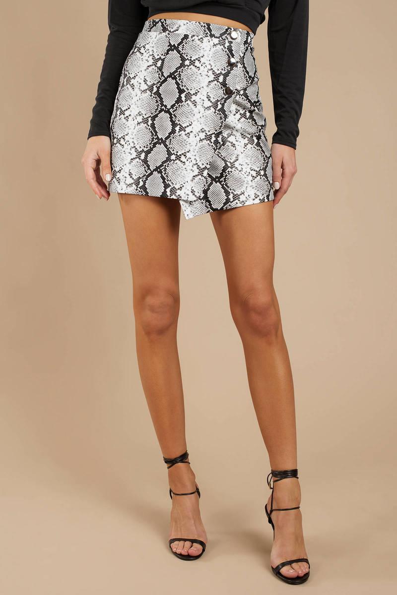 8c9a63861 White Skirt - Animal Print Skirt - White Snake Print Asymmetrical ...