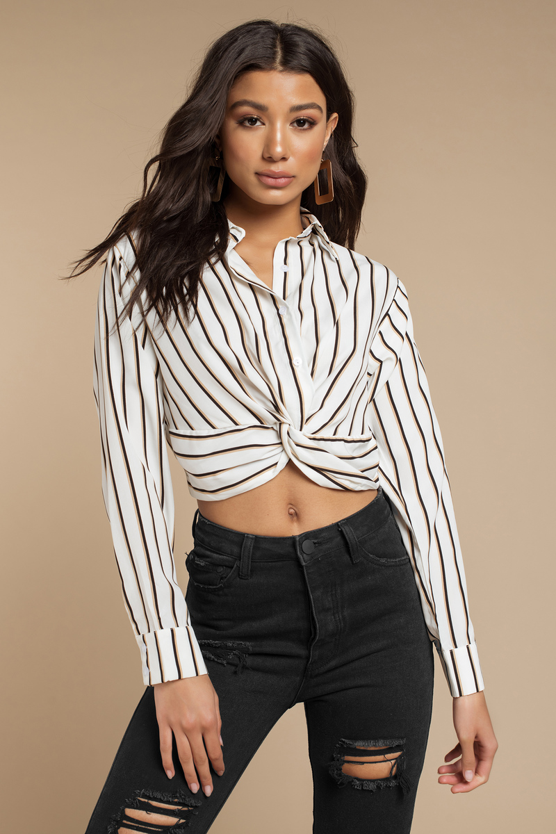 0fa82faa053a8 White Blouse - Tie Front Blouse - White Striped Long Sleeve Blouse ...