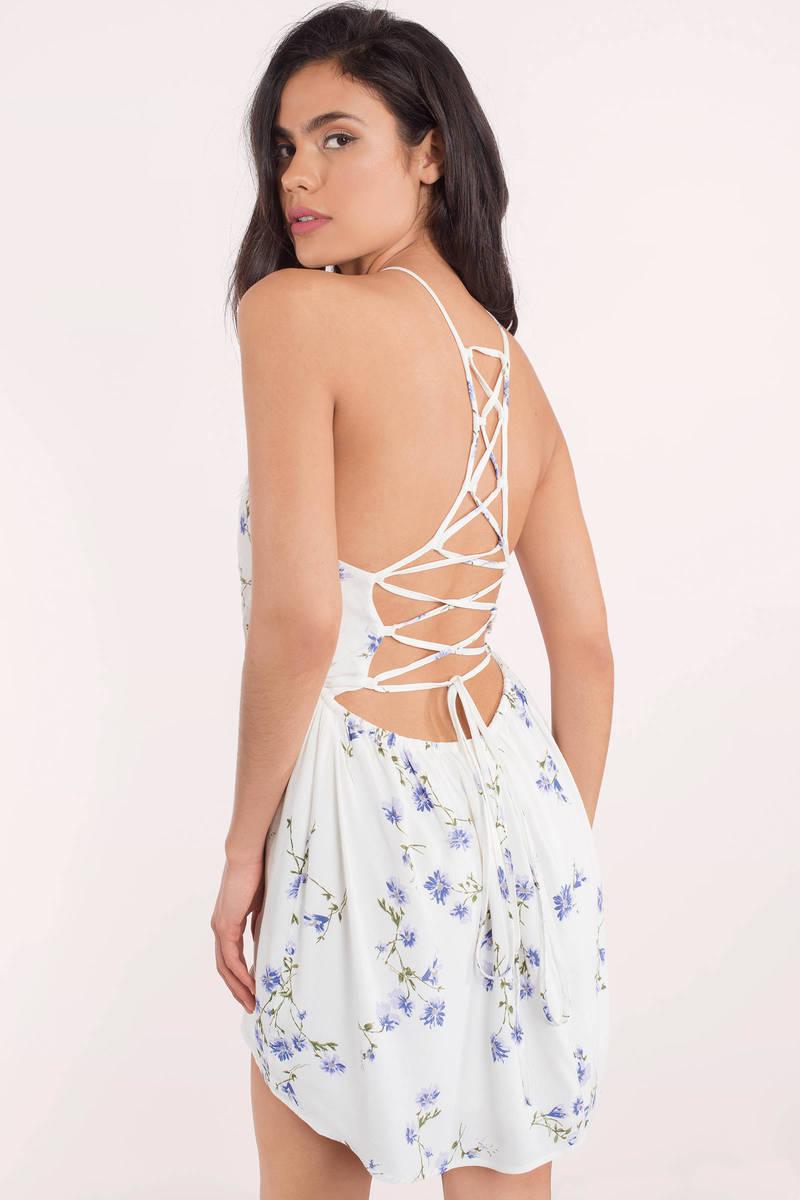 Kimberly White Multi Floral Skater Dress