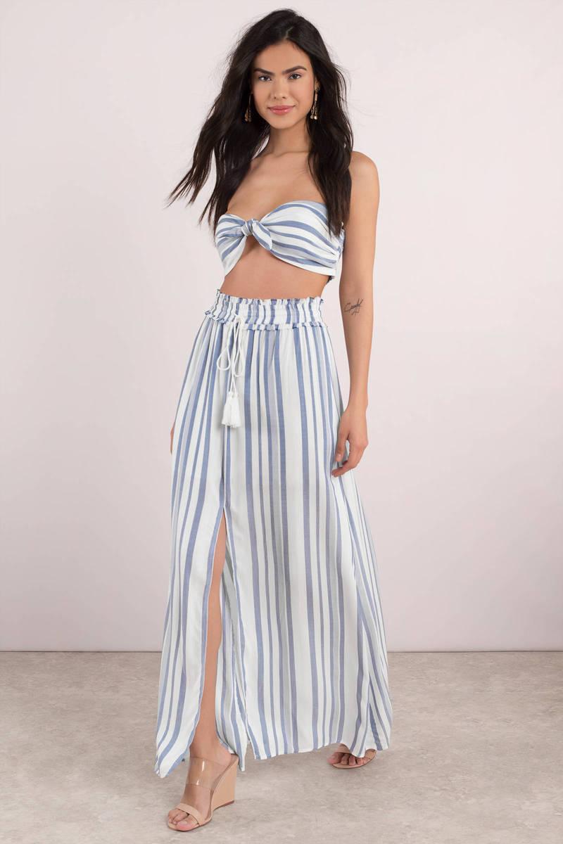 b52aa9fda White Lost + Wander Skirt - Tassel Skirt - White Striped Skirt - $86 ...