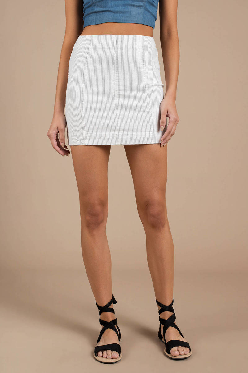 4ab6a9d8a4aa White Free People Skirt - Bodycon Skirt - White Striped Skirt -  33 ...