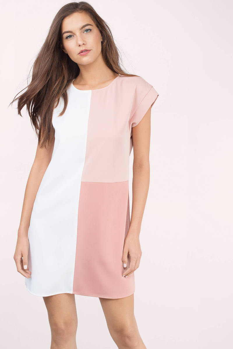 Night And Day White Multi Color Block Shift Dress
