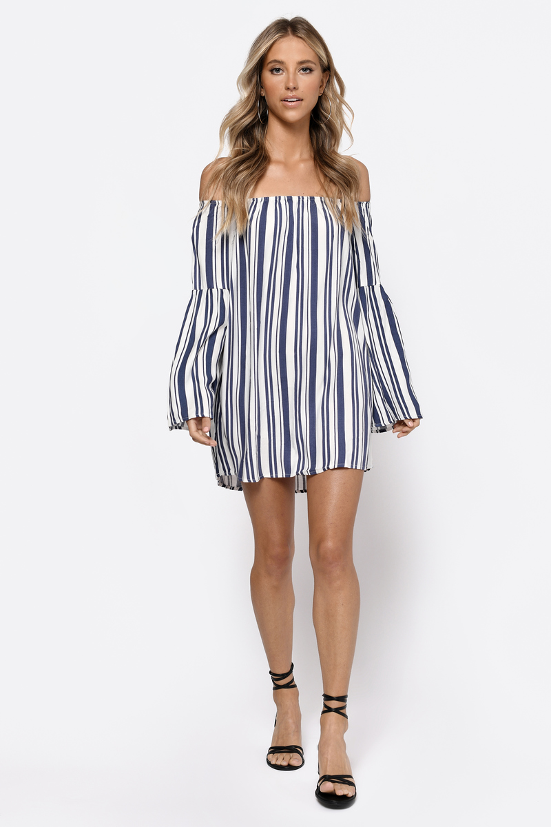 Peace Of Mind White Multi Striped Shift Dress