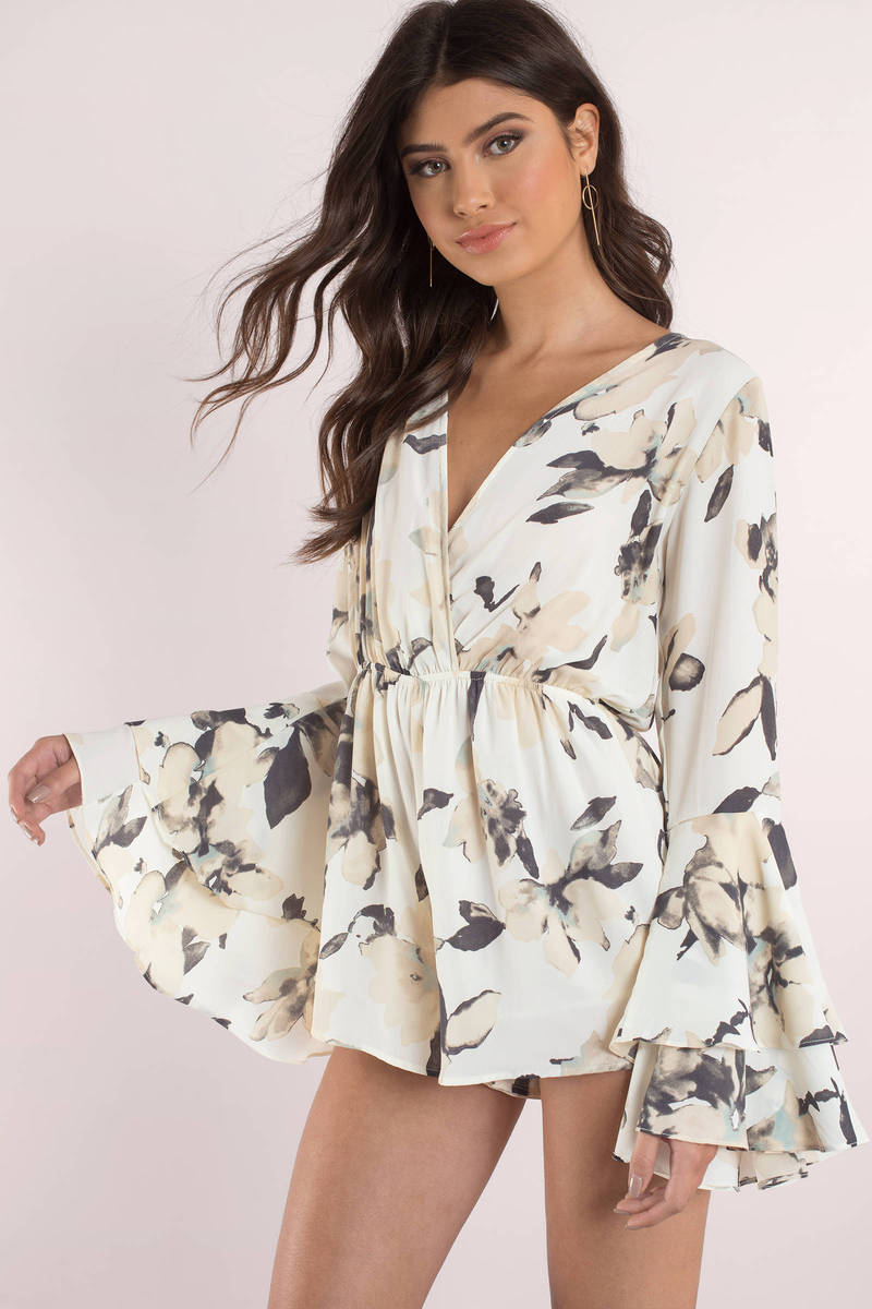 Southern Belle White Multi Floral Print Romper