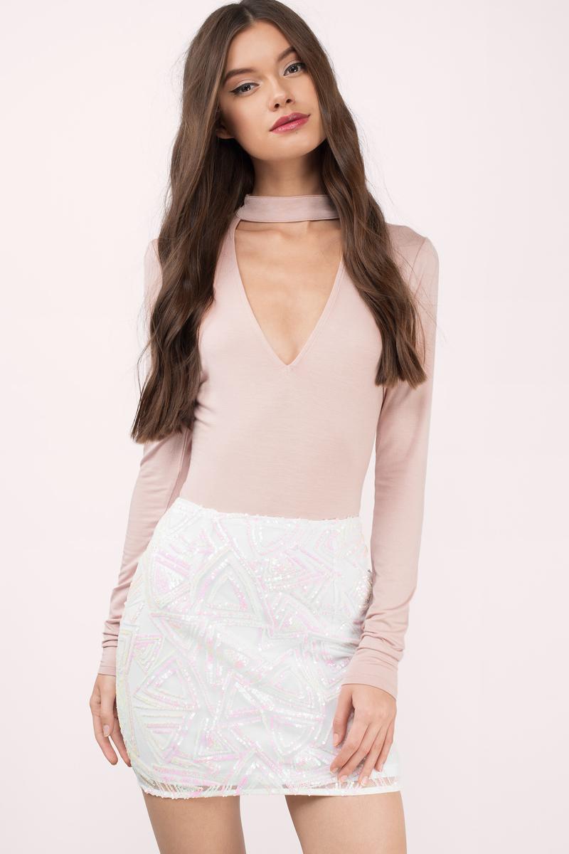 Stellar White Multi Sequin Mini Skirt