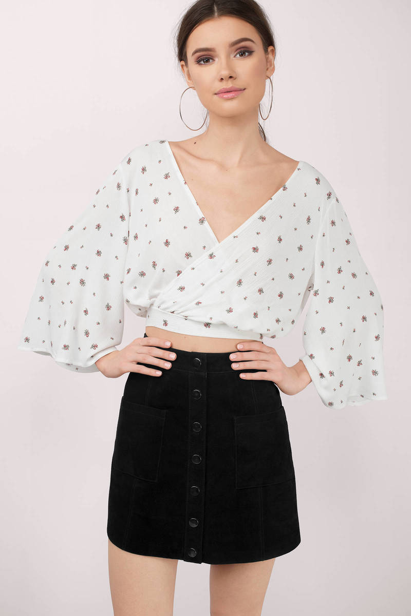 Viv White Multi Floral Print Surplice Top