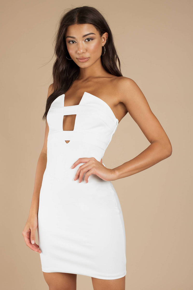 c99ec530c1bd White Tiger Mist Dress - Plunging Strapless Dress - White Cutout ...