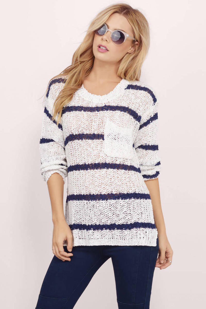 White & Navy Sweater - White Sweater - Navy Stripe Sweater - $15 ...