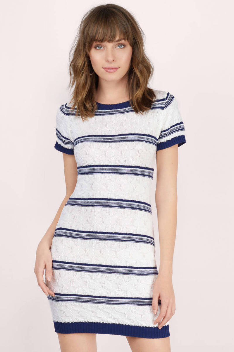 MINKPINK Minkpink Read Between The Lines White & Navy Striped Knitted Bodycon Dress