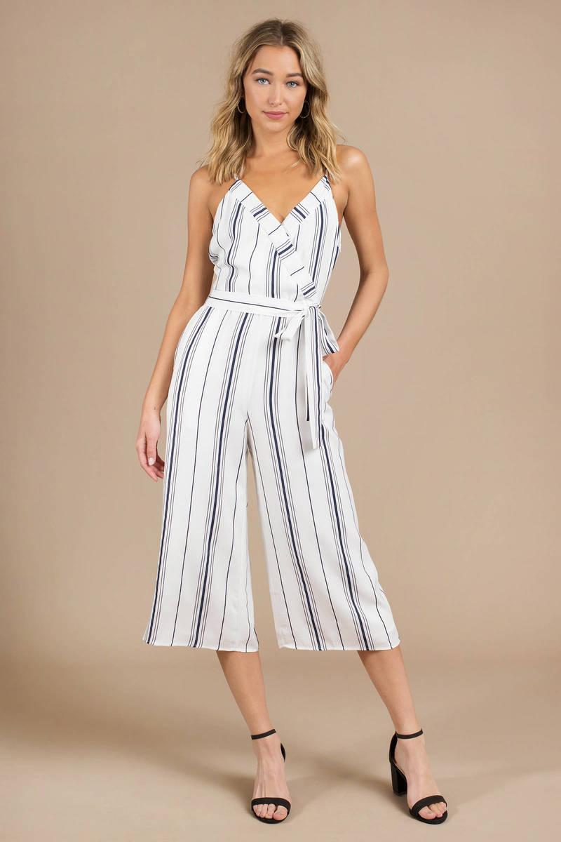 los angeles attractive price high quality White Joa Jumpsuit - Striped Jumpsuit - White V Neck Jumpsuit ...