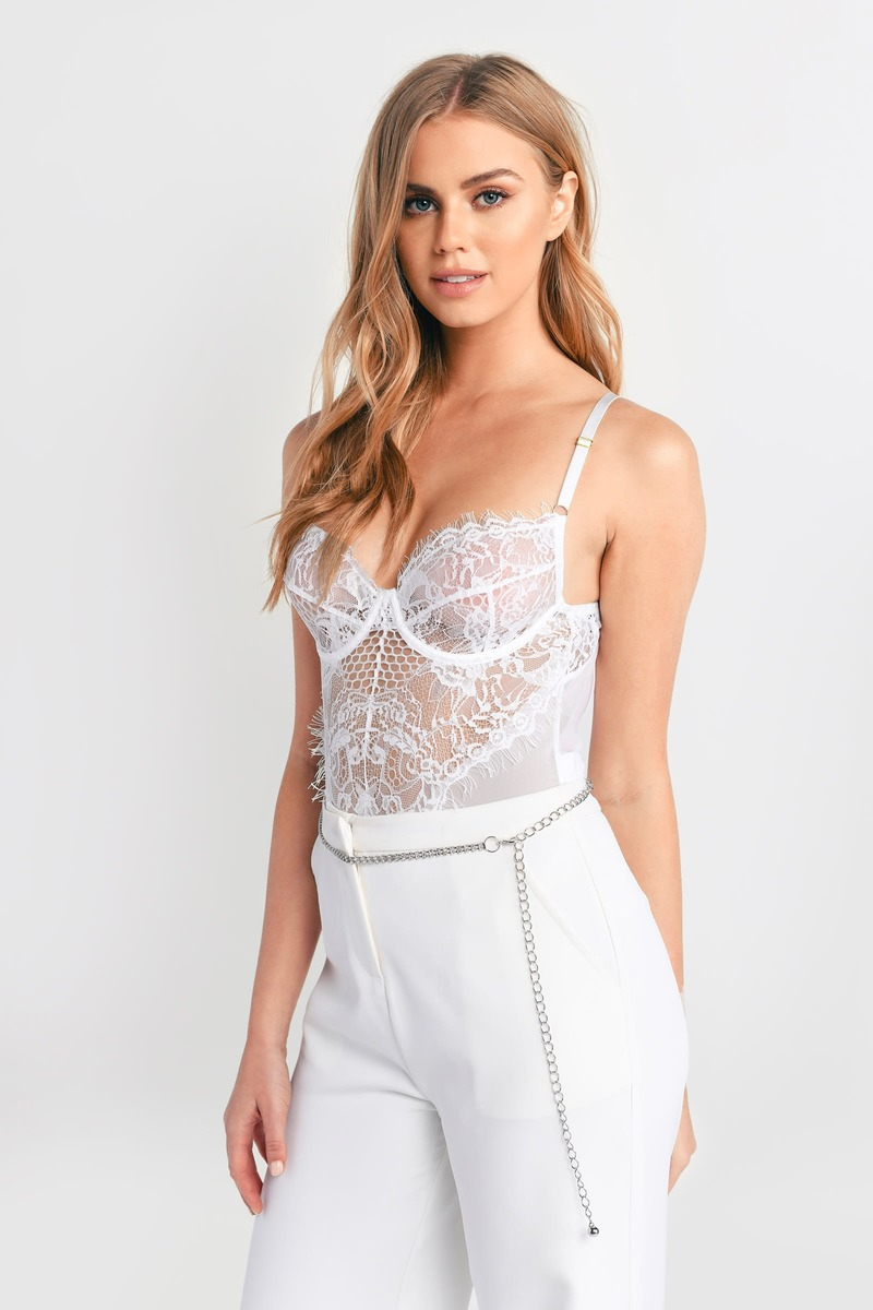 2cdfaaa95 Sexy White Bodysuit - Sheer Lace Bodysuit - White Bustier Bodysuit ...