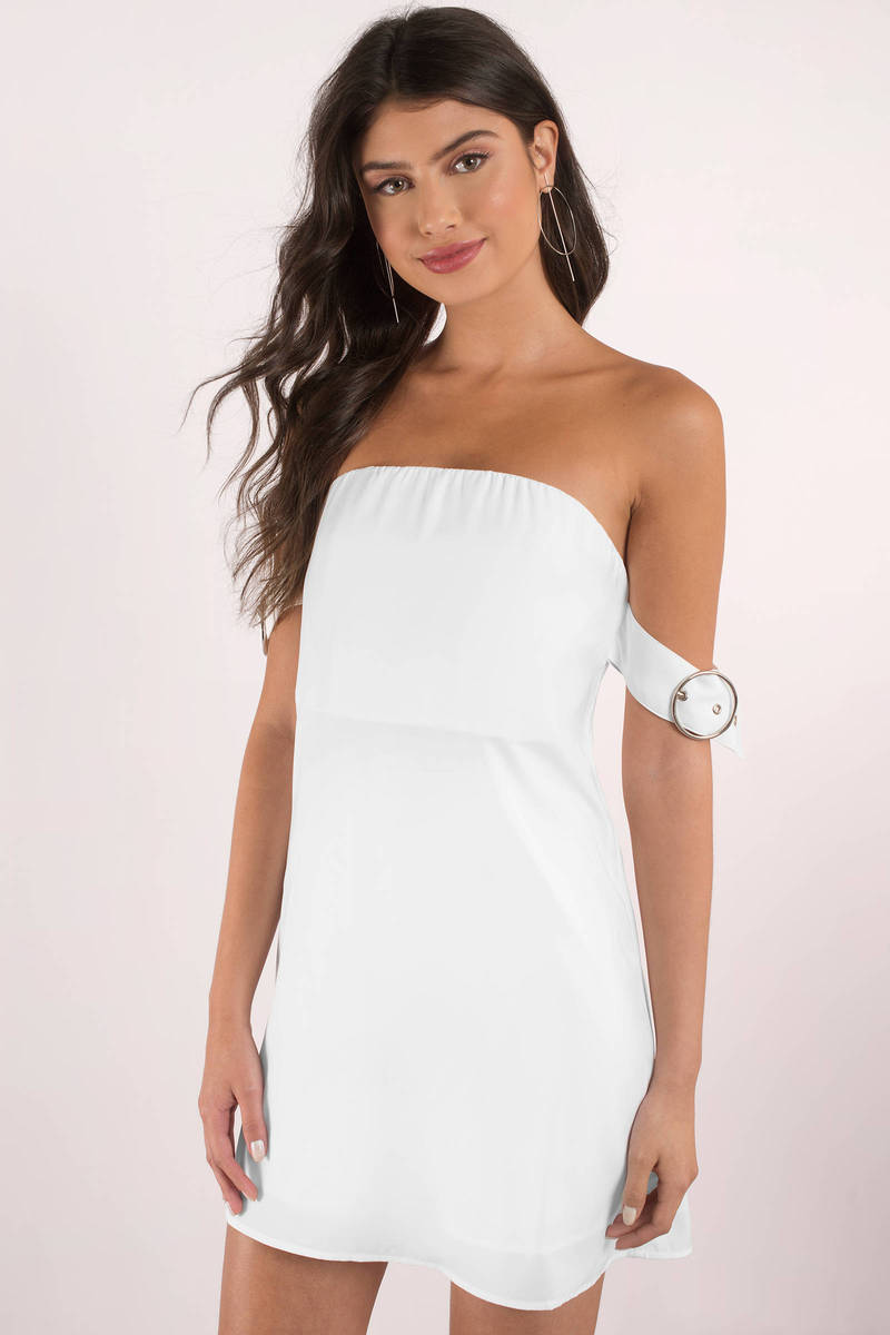 Nikki White Off Shoulder Shift Dress