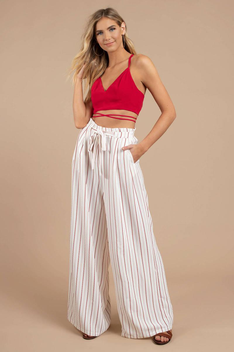 4ad340e5445f White Pants - Striped Wide Leg Pants - White Nautical Pants -  86 ...