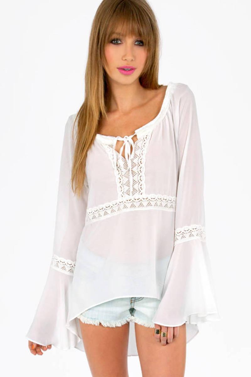 Oh Michelle Lace Trim Tunic