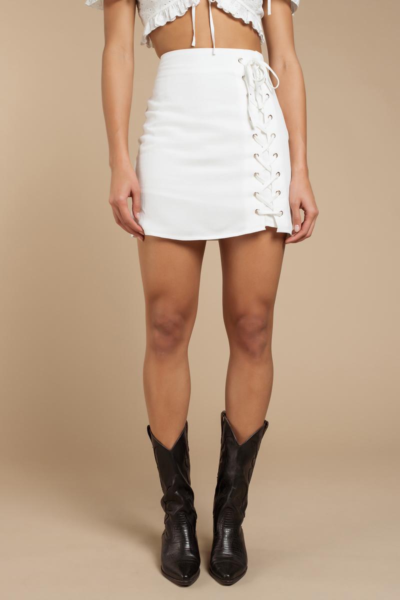 40188c48b0 White Skirt - Mini Lace Up Skirt - White Bow Tie Skirt - $18 | Tobi US