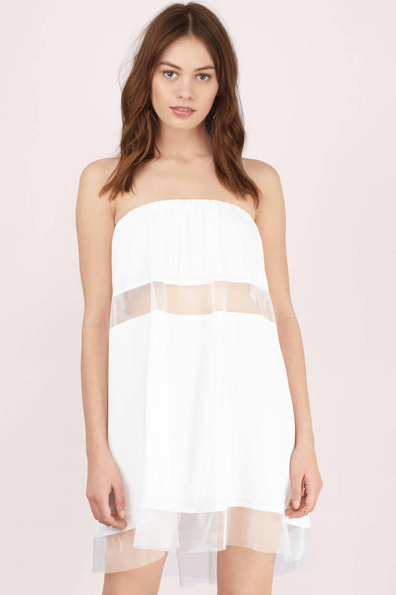 Sexy White Day Dress - White Dress - Strapless Dress - $13.00