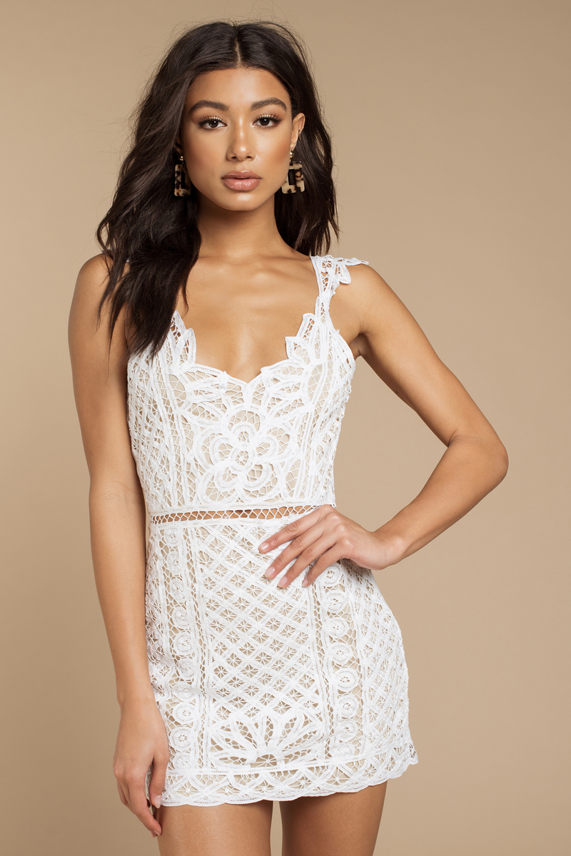 c8f8f4028f Sexy White Bodycon Dress - Elegant White Dress - White Lace Dress ...