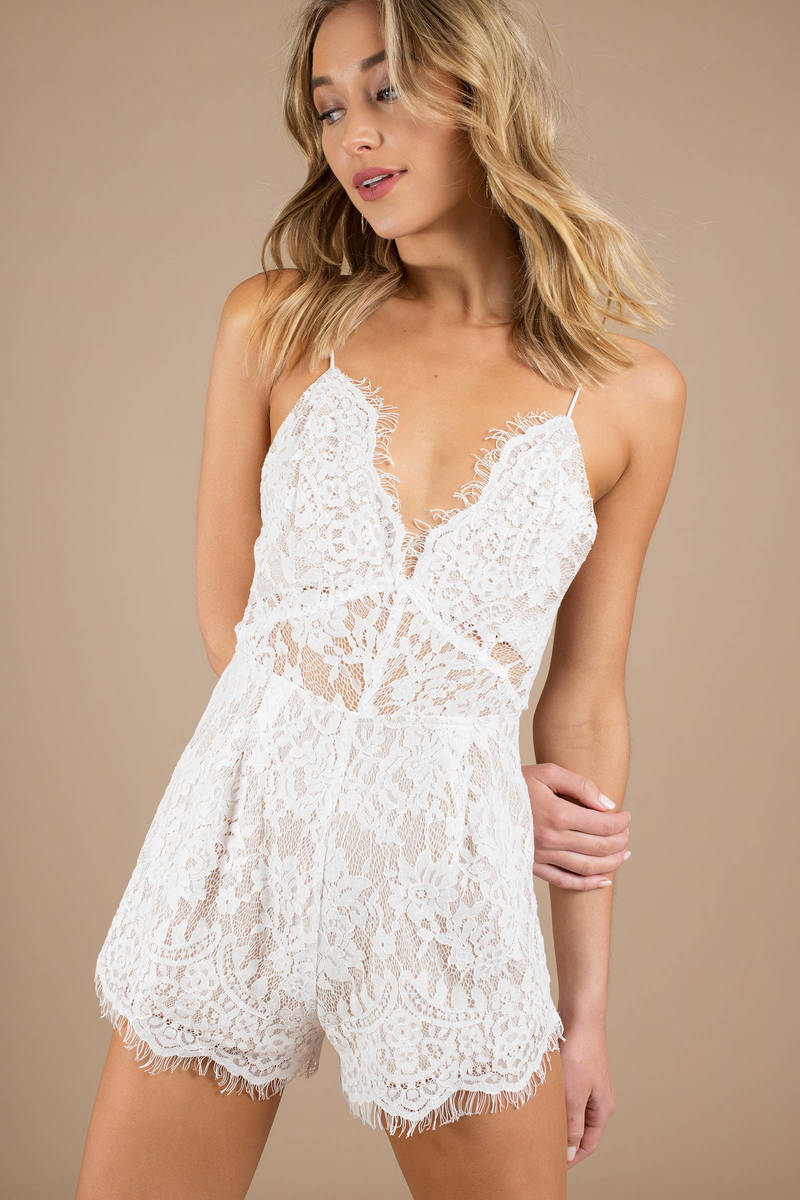 85235969b5 White Romper - Eyelet Lace Romper - White Sheer Romper - Elegant ...