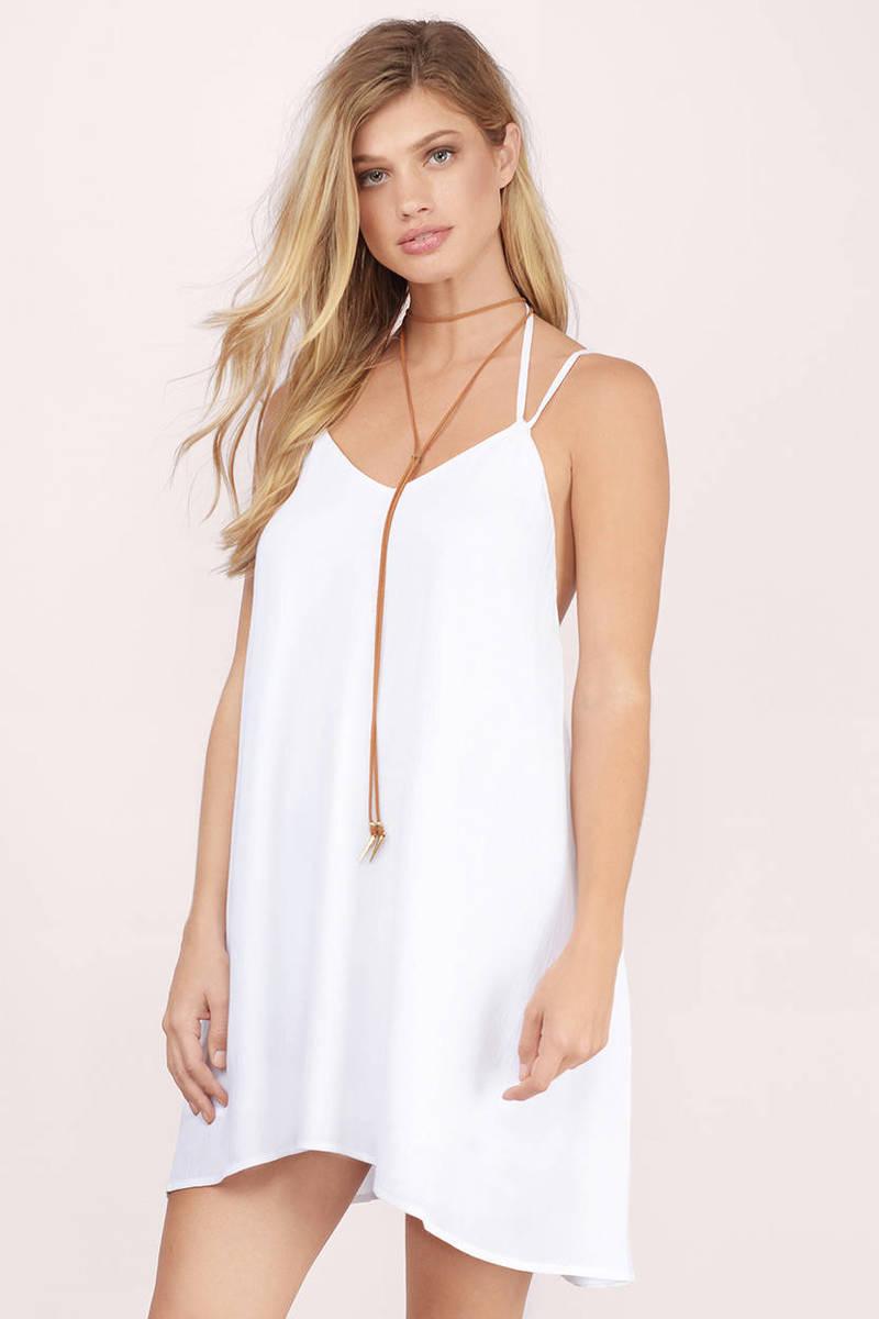 e0beee7d92c0e7 Cute White Dress - Strappy Dress - Sleeveless Swing Dress - Shift ...
