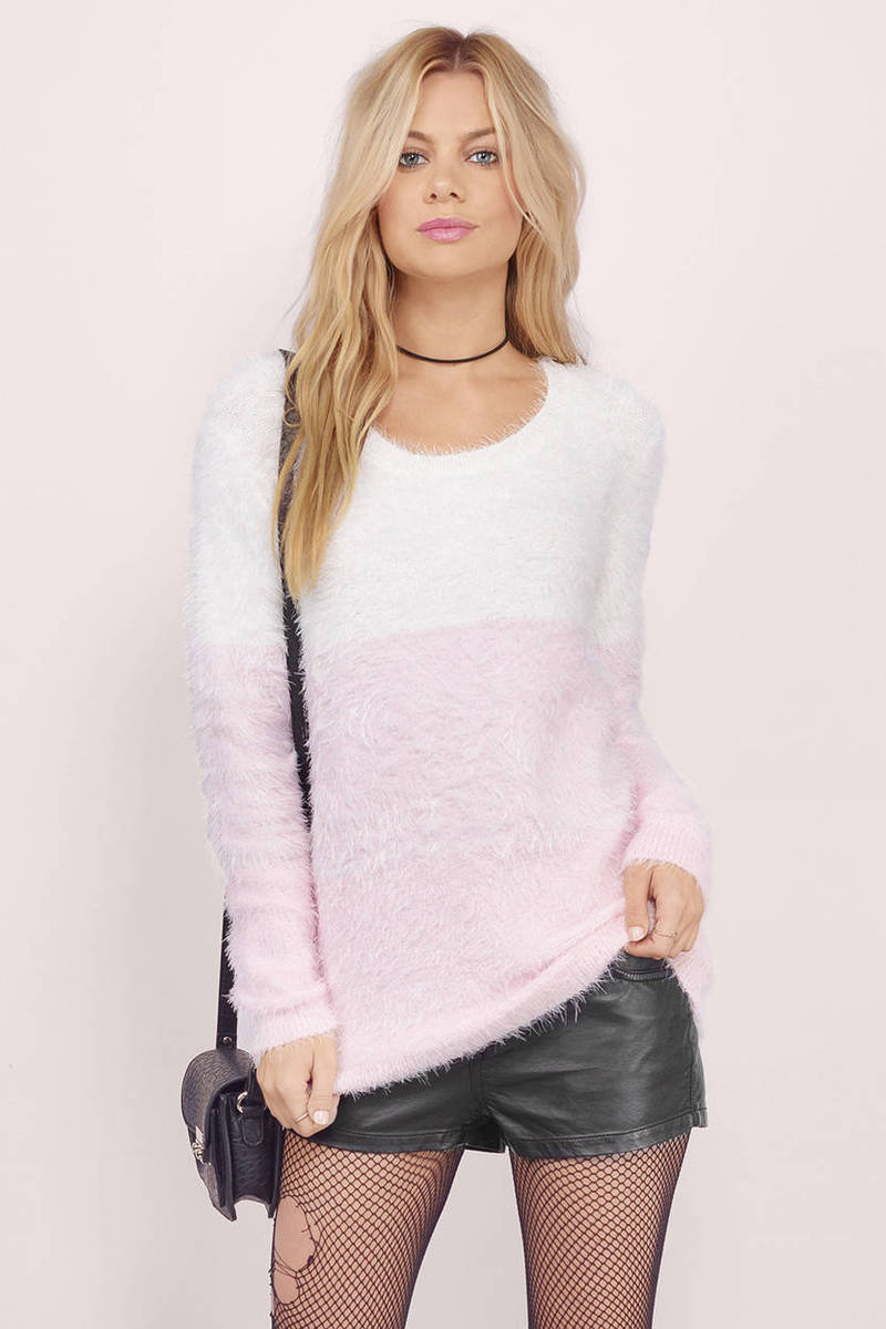 White & Pink Sweater - White Sweater - Long Sleeve Sweater - $16.00